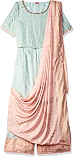 W for Woman Women's Rayon straight Salwar Suit Set (19FEWS12330-112517_ Green_ 14)