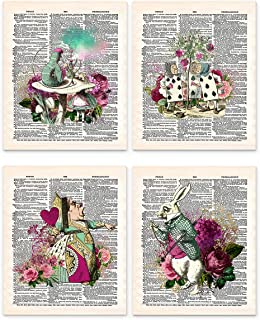 Alice in Wonderland Wall Art, 8x10 Set of 4 Un Framed Prints. On Upcycled Vintage Style Dictionary Page. Ideal for Book Lovers and Lewis Carroll Fans
