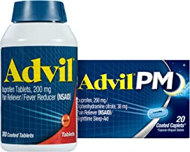 Advil 200 Mg Ibuprofen, Pain Reliever and Fever Reducer - 300 Caplets + Advil PM 25 Mg Diphenhydramine, Sleep Aid and Nigh...
