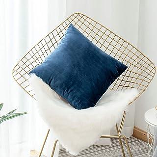 """HOME BRILLIANT Deluxe Velvet Europe Pillow Sham Large Cushion Cover Pillow Case for Bedroom Living Room, 26"""" x 26""""(66cm), ..."""