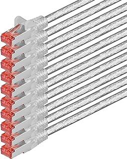 Nätverkskabel Cat 6 (7,5 m - transparent - 10 delar) Ethernet-kabel Cat-kabel Lan-kabel Cat6 (SFTP PIMF) dubbelskärmad Pat...