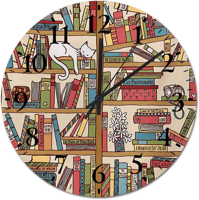 DIY Wall Clock Nerd Book 高級 Lover Bookshelf in 入荷予定 Sleeping Kitty Over
