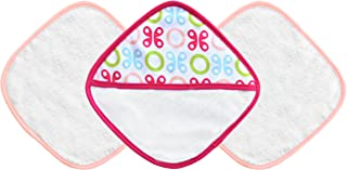 JJ Cole Washcloth and Bath Mitt Set, Pink Butterfly, 3 Count