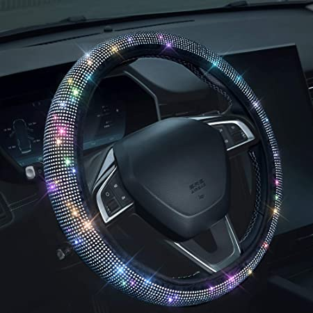 """Bling Rhinestones Steering Wheel Cover with Crystal Diamond Sparkling Car SUV Breathable Anti-Slip Steering Wheel Protector (Fit 14.2""""-15.3"""" Inch)"""