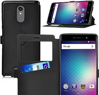 BLU VIVO 5R case,KuGi BLU VIVO 5R case Ultra-Thin SCW Style PU Cover + TPU Back Stand Case for BLU VIVO 5R Smartphone(Black)