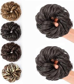JessLab Postizos de Pelo, 2 Pcs Hair Bun Scrunchie Messy Bun Peluca Pelo Natural Coletas Postizas Extensiones de Cabello P...