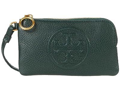 Tory Burch Perry Bombe Top Zip Card Case (Pine Tree) Handbags