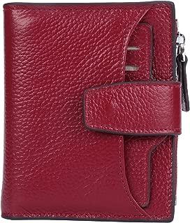 Women's RFID Blocking Leather Small Compact Bi-fold Zipper Pocket Wallet Card Case..