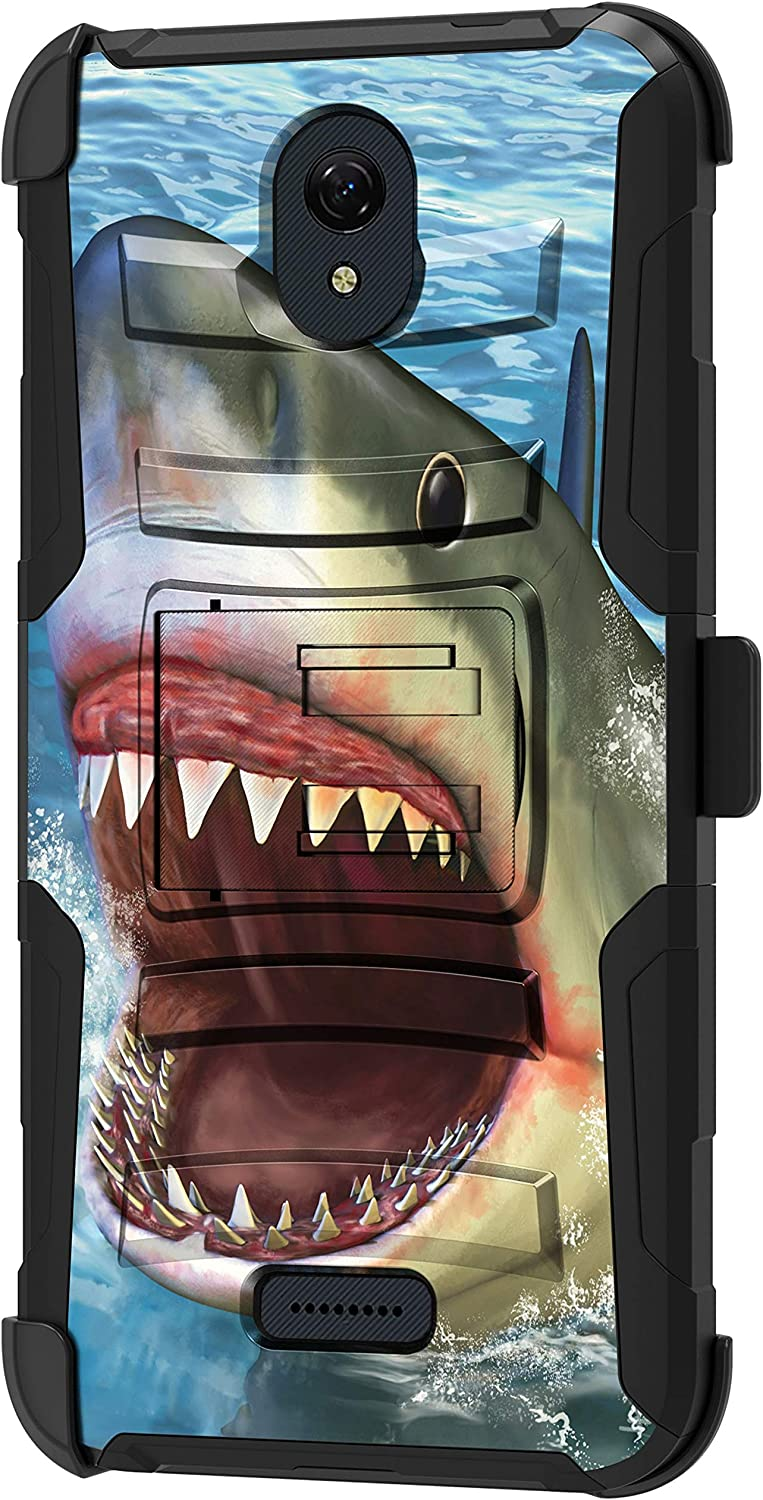 TurtleArmor | Compatible with Cricket Icon 2 Case | U325 [Hyper Shock] Hybrid Reinforced Dual Layer Case Belt Clip Holster Stand Sea Ocean - Shark Attack