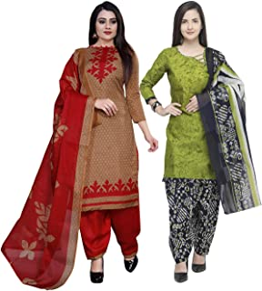 Rajnandini Women's Light Brown And Light Green Cotton Printed Unstitched Salwar Suit Material (Combo Of 2) (Free Size)