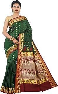 Misal Sarees Women's Katan Silk Handloom Bengal Origin Baluchari Saree with Blouse Piece (MS1654, Green-Maroon)