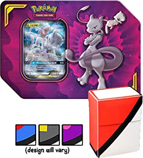 Power Partnership Tin Mewtwo & Mew GX Tag Team with Totem World Card Protector Deck Box - Compatible with Pokemon Cards - 4 TCG Booster Packs, GX Marker & Code Card Inside