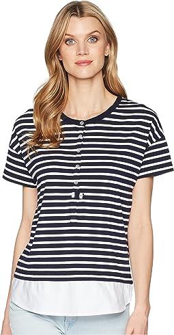 Yarn-Dye Stripe Jersey Short Sleeve Top with Combo Hem