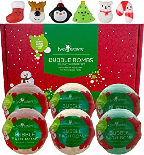 Christmas Squishy Bubble Bath Bombs for Kids with Surprise Squishy Toys Inside by Two Sisters. 6 Large 99% Natural Fizzies...