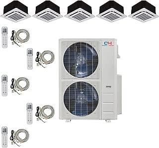 COOPER AND HUNTER Five 5 Zone Ductless Mini Split Ceiling Cassette Air Conditioner Heat Pump 12k 12k 12k 12k 12k