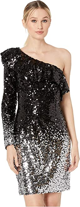 One Shoulder Ombre Sequin Cocktail Dress