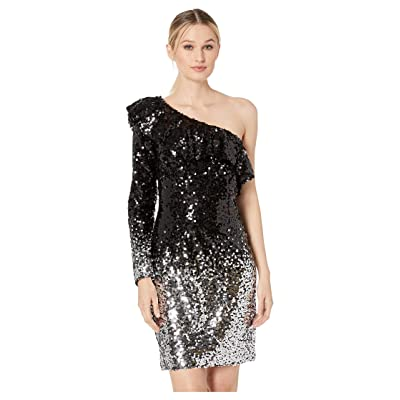 Laundry by Shelli Segal One Shoulder Ombre Sequin Cocktail Dress (Black/Silver) Women