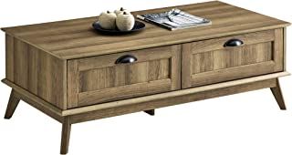 Newport Series Tall Center Coffee Table with Two Fully Extended Drawers | Sturdy and Stylish | Easy Assembly| Golden Oak Wood Look Accent Living Room Home Furniture