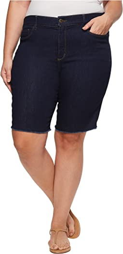 NYDJ Plus Size - Plus Size Briella Shorts w/ Fray Hem in Rinse