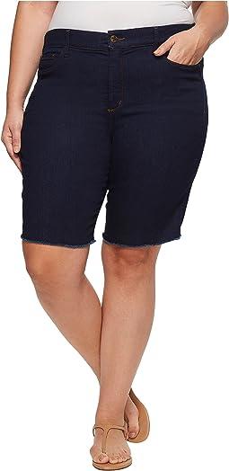 NYDJ Plus Size Plus Size Briella Shorts w/ Fray Hem in Rinse