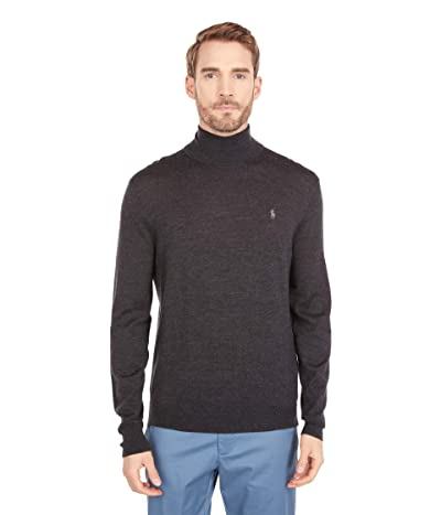 Polo Ralph Lauren Washable Merino Turtleneck Sweater (Dark Granite Heather) Men