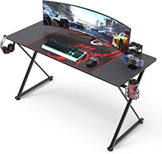Gaming Computer Desk 55 inch, X Shaped PC Gaming Desk Table Home Office Workstation with Mouse Pad Cup Holder Headphone Ho...