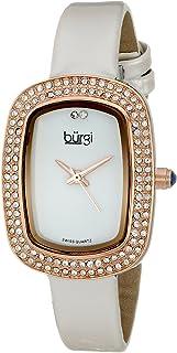Burgi Women's Rectangular Swaroski Crystal Accented Slim Leather Strap Watch - BUR111