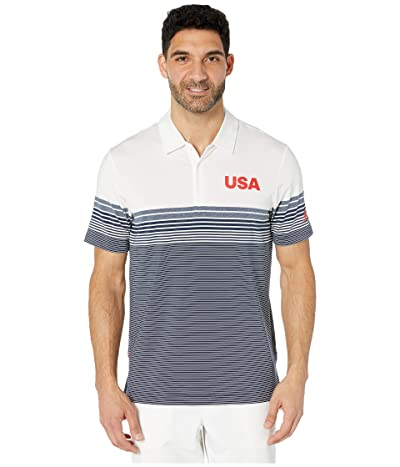 adidas Golf USA Golf Ultimate Bold Stripe Polo (White) Men