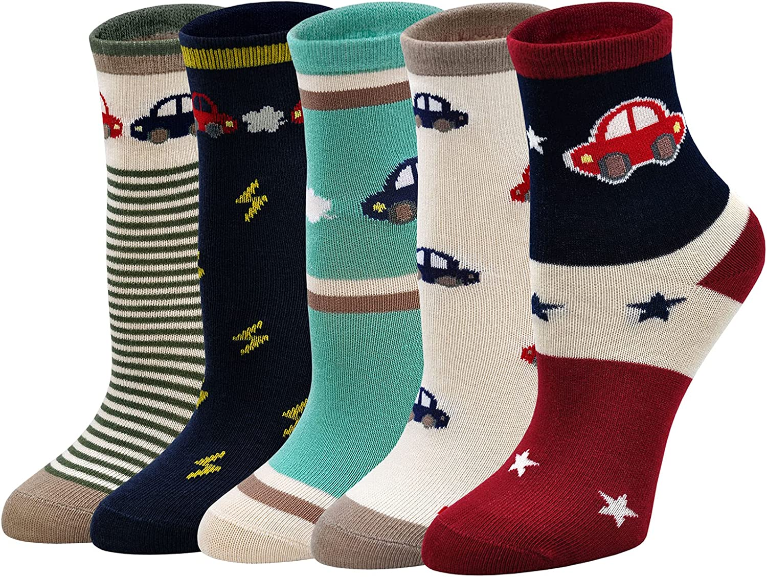 Artfasion Boy Sock Cartoon Pattern Casual Children Ankle Sox for Kids 5 Pairs