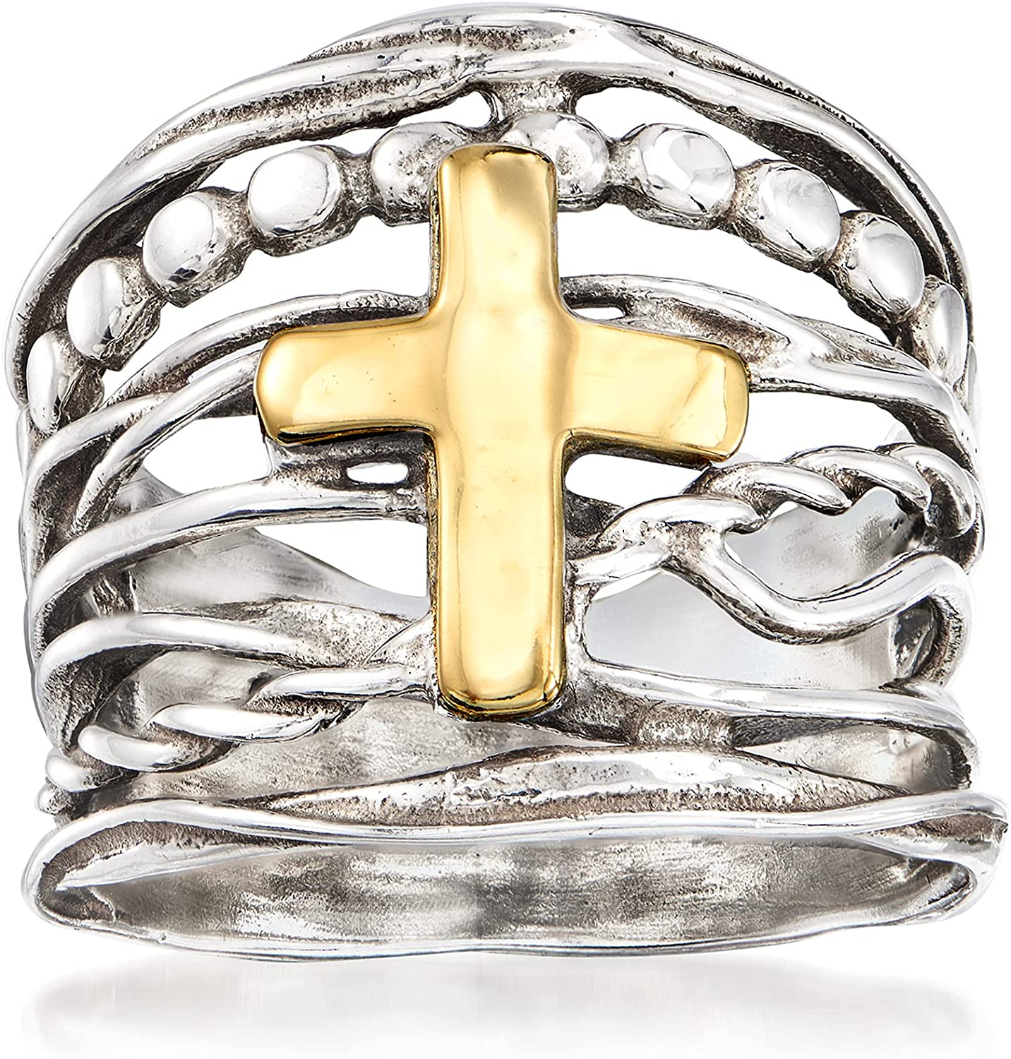 Genuine Ross-Simons Lowest price challenge Sterling Silver and 14kt Yellow Multi-Row Cross Gold