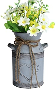 "MISIXILE French Style Country Metal Shabby Chic vase, Rustic Galvanized Milk Can with Heart-Shaped for Home Decoration -7.5""(Misty Grey"