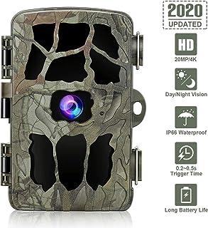 Cámara Wildlife Trail cámara de Juegos 4K Full HD de 20MP cámara Trail con visión Nocturna IP66 a Prueba de Agua 0.2s activada por Movimiento de Tiempo Compatible con Tarjeta 512G TF
