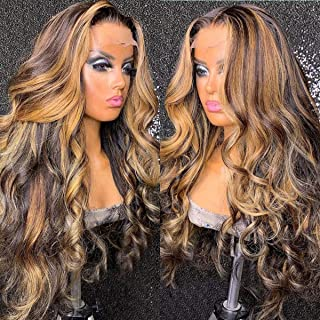 Highlight 4-27 Wavy Lace Front Wigs Human Hair 13X4 Brazilian Lace Front Human Hair Wigs Pre Plucked With Baby Hair For Wo...