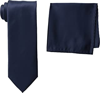 Men's Tall-Plus-Size Satin Solid Extra-Long Tie Set