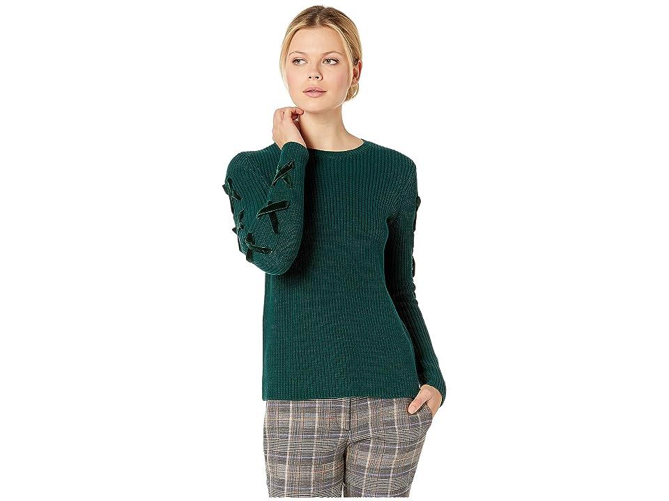 LAUREN Ralph Lauren Lace-Up Cotton Sweater (Emerald Velvet) Women