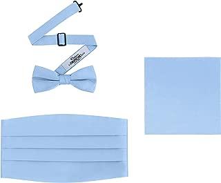 Men's 3 Piece Formal Accessory Set with Bow Tie, Cummerbund & Pocket Hanky