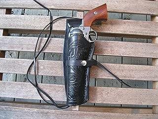"Western Express – Left Handed – 6"" Black Tooled Leather Gun Holster (.22 .38 .45 Caliber)"