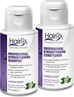 HairRx Professional Strengthening Shampoo & Conditioner Travel Set, Light Lather, Jasmine Scent, 2 Ounce Bottles