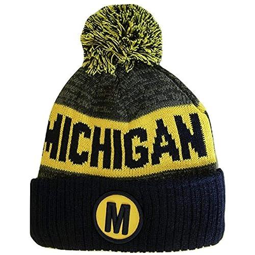 BVE Sports Novelties Michigan M Patch Ribbed Cuff Knit Winter Hat Pom Beanie d031f83f92d