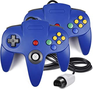 2 Pack N64 Controller, iNNEXT Classic Wired N64 64-bit Gamepad Joystick for Ultra 64 Video Game Console N64 System Mario Kart (Blue)