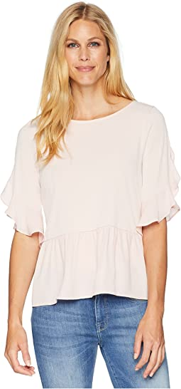 Ruffle Sleeve Blouse with Ruffle Hem