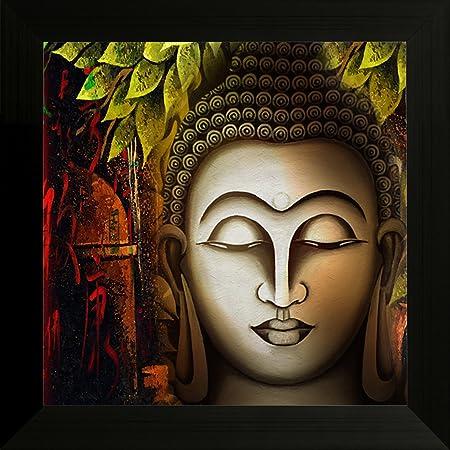 SAF Buddha Vastu UV Coated Home Decorative Gift Item Framed Painting 12 inch X 12 inch SANFA5997