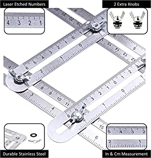 Angle Measurement Tool Stainless Steel Universal Template Measure Angular Ruler Laser Engraved Scale - Bag and 2 Extra Knobs for Carpenter Woodwork Tile Floor Installation DIY Roofing Tools