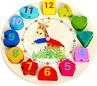 WISHKEY Wooden Learning Clock with Bead Lace , Educational Digital Analog Numbers, Shape & Color Learning Montessori Toy for Kids