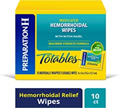Preparation H (10 Count) Flushable Medicated Hemorrhoid Wipes, Maximum Strength Relief with Witch Hazel and Aloe, Irritation Relief Wipes to Go