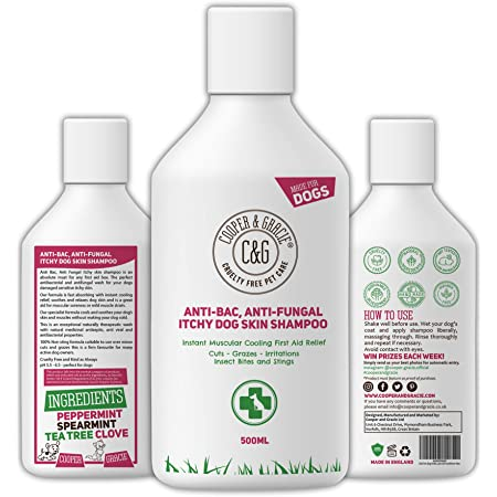 C&G Pets | Dog Shampoo For Itchy Skin Antibacterial And Antifungal | 100% Natural Medicated Low Lather Safe Formula | Fast Absorbing and Skin Cooling First Aid | Great For Cuts Grazes Skin Irritation