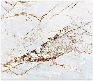 Decorita 10011509220 Gold Detay Beyaz Mermer Görünümlü Cam Ocak Arkası Koruyucu, 40cm x 60cm