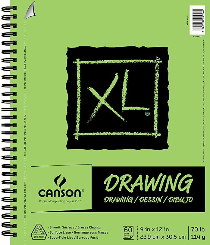 Canson XL Series Drawing Paper Pad, Micro Perforated, Smooth Surface, Side Wire Bound, 70 Pound, 9 x 12 Inch, 60 Sheets