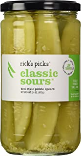 Rick's Picks, Classic Sours, Deli Style Pickle Spears (24 oz Jar) Low Sodium Snack, Gluten Free, Low Carb, Low Sugar, Fat Free, Cholesterol Free