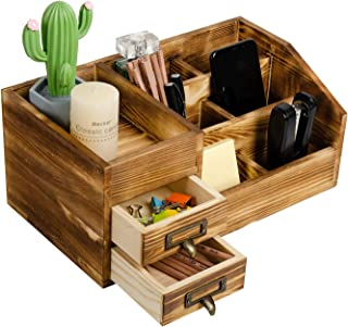 Rustic Torched Wooden Desktop Organizer Drawer Organizers Tabletop Storage Cabinet Stepped Rack Multiple Compartments 2 Ti...